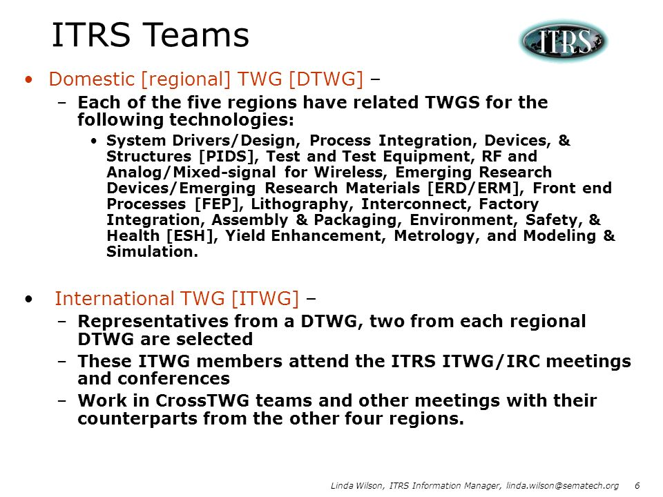 ITRS Teams Domestic [regional] TWG [DTWG] – International TWG [ITWG] –